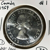 1959 Canada $1 Dollar Silver Coin UNC/BU Condition #1