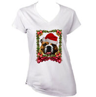 BRITISH BULLDOG 4 CHRISTMAS - NEW WHITE COTTON LADY TSHIRT
