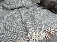 Wolldecke 140x200cm Wohndecke Kuscheldecke Decke Plaid 80%Wolle Grau-Weiss
