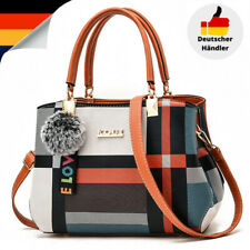 Karierte Damen Schultertasche Umhängetasche Handtasche Leder Bag Shopper Mittel