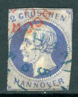 Germany 1859 Hannover 2gr Prussian Blue SG # 25 VFU I14