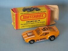 Lesney Matchbox Superfast Ford Boss Mustang Orange USA Box 75mm Black Print 44