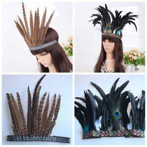 Boho Feather Headband Festival Headdress Carnival Garland Headpiece Halloween