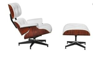 Rosewood Lounge Chair & Ottoman with White leather