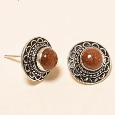 "STUNNING RED GOLDSTONE GEMSTONE ETHNIC STUD Jewelry EARRING 0.67"" E-98"