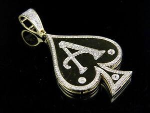 "Men's 10K Yellow Gold Genuine Diamond Aces Spade Pendant Charm 1/2 Ct 2"""
