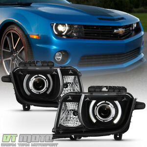 Black 2010-2013 Chevy Camaro Halogen LED Halo Projector Headlights Headlamps Set