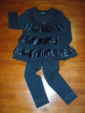 Girls Black Ruffled Top and Black Leggins 2 Piece Outfit  Size 5/6   NWT!
