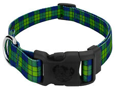 New listing Country Brook Petz® Deluxe Blue and Green Plaid Dog Collar - Made in U.S.A., L
