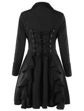 Gothic Women Fashion Lace Up Mid-Length Black Trench Coat Dress Overcoat Jacket