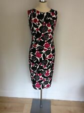 PHASE EIGHT PINK,BLACK,GREY & WHITE PRINT STRETCH PENCIL DRESS SIZE 10