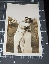 Couple in LOVE Affectionate Man Woman Vintage Snapshot PHOTO Valentine HUG Smile