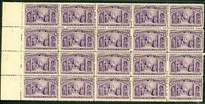 1893 COLUMBIAN 6¢ #235  LEFT MARGIN BLOCK OF 20. CAT $1990 as singles 11 NH
