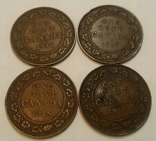 (4) Canadian Large One Cents 1912 1917 1918 1919 Higher Grades! Canada 1C #5