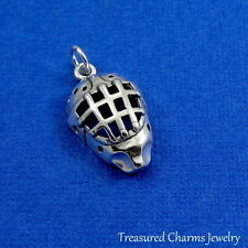.925 Sterling Silver ICE HOCKEY GOALIE MASK CHARM Hockey Player PENDANT