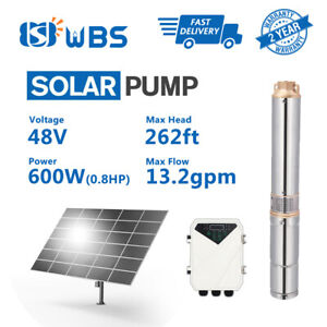 "3"" DC Deep Well Solar Water Pump 48V 600W Bore Hole Submersible MPPT Controller"