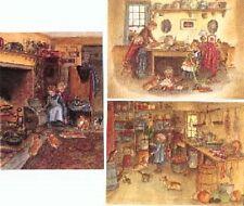 3 Vintage Tasha Tudor Home Greeting Cards w Envelopes MINT condition with Corgi