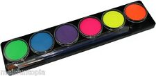TAG Body Art 6 x 10g Neon Palette & 2 Brushes, UV Glow Face & Body Paint Makeup