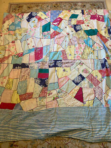 ANTIQUE VINTAGE CRAZY QUILT Oddly Made 72 X72