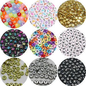 250 Assorted Acrylic Alphabet Letter Coin Beads 4X7mm Kids Craft Color Pick