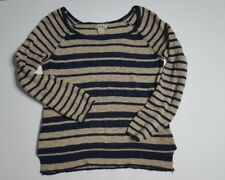 Lucky Brand Womens Navy and Beige Striped Sweater size S