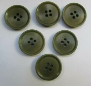Olive Green Coloured Vintage Resin Buttons X6-4 Hole-2.5cm