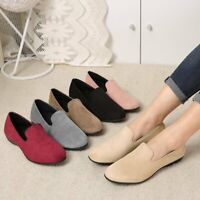 Women Summer Slip On Suede Loafers Flat Round Toe Casual Soft Leisure Shoes
