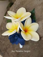 Corsage  - Artificial Flower - Frangipani with Dark Blue - Set of 2