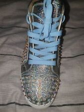 Authentic christian Louboutin womens junior spikes Crystal silver size 35