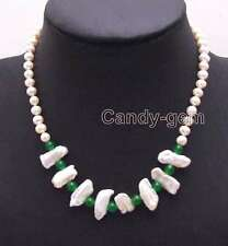 SALE 6-7mm White pearl and 12-15mm Biwa Pearl & Green Jade 17 Necklace-nec6128