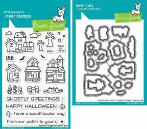 Lawn Fawn SPOOKY VILLAGE Clear Stamps & Lawn Cuts Die Set Halloween Lot