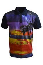 Mens Kitsch 70's 80's Midnight Sunset Hawaiian Striped Polo Top
