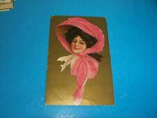 Antique Postcard  Art Portrait of lady in Pink hat Victorian gold gilt  1910