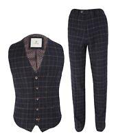 Men's Cavani Shelby Navy Blue Check Tweed Retro Peaky Blinders Waistcoat Pants