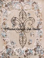 ART PRINT Fluer de lis Cross Bedroom Art Cottage Chic Matted Picture USA A341