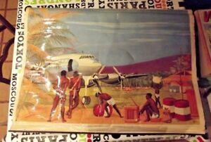 Ancienne Affiche scolaire Armand Colin Avion Aérodrome Forêt Vierge Hotel Dieu