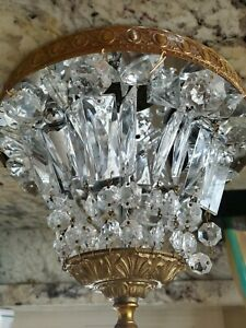 """European Antique 1950s Vintage Cut Crystal and Brass Ceiling Light Fixture 10"""""""