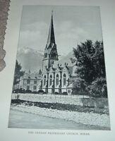 1903 Antique Print GERMAN PROTESTANT CHURCH MERAN South Tyrol Italy