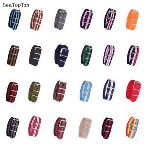 12/14/16/18/20/22/24mm Cambo Stripe Nylon Watchband Watch Strap Band Buckle
