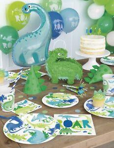 DINOSAUR Blue Green Birthday Party Supplies Kids Tableware Jurassic Decorations