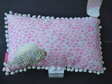 NWT LILLY PULITZER Indoor/Outdoor Pillow Pink Metallic Gold Fish Pom Poms