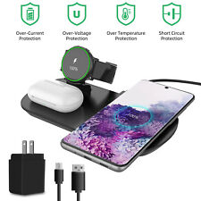 3IN1 Qi Wireless Charger Charging Dock for Samsung Galaxy S20/S10 Note 9/8 Watch