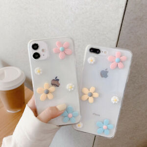 3D Raised Flower Clear Soft Case Cover For iPhone SE 2020 11 Pro Max XR XS X 8 7