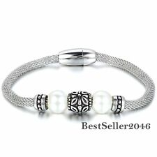 Retro Charm Manmade Pearl Bead Women's Steel Mesh Rope Bracelet w Magnetic Clasp