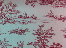 Toile de Jouy Red/Raspberry Bed Runner  Fully Lined. Hand made to order. New!