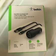 Belkin 2 port Universal Car Charger Cell Phone A to C Cigarette lighter port New