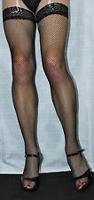 Large Black Lace Top Fine Fishnet Stockings Suspender Friendly Top