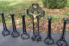 + 7 Piece Set + Wrought Iron Altar Cross with 6 Matching Altar Candlesticks +