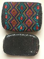 Lot of 2 Evening Bags Clutches/ Beaded Multicolor Bag/Small Black Metal Mesh Bag