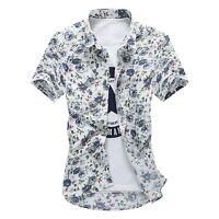 Mens Summer Hawaiian Floral Print Fashion Short Sleeve Shirt Flower T-Shirt Tops